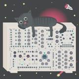 Γάτα στο συνθέτη στο διάστημα με το διαστημόπλοιο και asteroid ελεύθερη απεικόνιση δικαιώματος