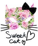 Γάτα cat cute Κάρτα γενεθλίων απεικόνισης γατών Watercolor Τυπωμένη ύλη μπλουζών Στοκ εικόνες με δικαίωμα ελεύθερης χρήσης