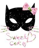 Γάτα cat cute Κάρτα γενεθλίων απεικόνισης γατών Watercolor Τυπωμένη ύλη μπλουζών Στοκ φωτογραφίες με δικαίωμα ελεύθερης χρήσης