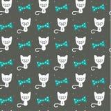 Γάτα Hipster στο γκρίζο, άνευ ραφής υπόβαθρο Στοκ φωτογραφίες με δικαίωμα ελεύθερης χρήσης