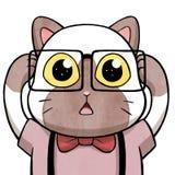 Γάτα Nerd που έχει μια αποκάλυψη †μυαλό-φυσήγματος «απομονωμένη στο άσπρο υπόβαθρο Στοκ Εικόνες