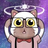 Γάτα Nerd που έχει μια μεγάλη αποκάλυψη με την κοσμική έκρηξη στο υπόβαθρο Στοκ εικόνα με δικαίωμα ελεύθερης χρήσης