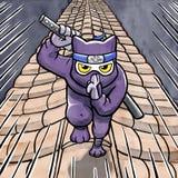 Γάτα Ninja που τρέχει σε μια ιαπωνική στέγη Στοκ Εικόνες