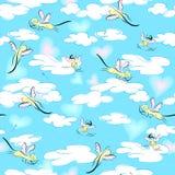 Γάτες -γάτα-cupids που πετούν στον ουρανό απεικόνιση αποθεμάτων