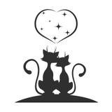 Γάτες ενάντια σε μια ρομαντική συνεδρίαση Στοκ Εικόνες