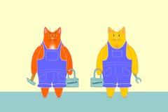Γάτες εργαζομένων Στοκ φωτογραφία με δικαίωμα ελεύθερης χρήσης