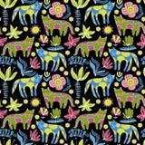 Γάτες και λουλούδια κινούμενων σχεδίων ζωηρόχρωμο πρότυπο άνευ ρα& Στοκ εικόνες με δικαίωμα ελεύθερης χρήσης