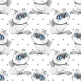 Γάτες κινούμενων σχεδίων, μονοχρωματικό άνευ ραφής σχέδιο Στοκ Φωτογραφία