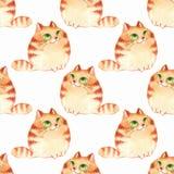 Γάτες κινούμενων σχεδίων Watercolor, άνευ ραφής σχέδιο Στοκ Εικόνες