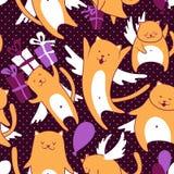 Γάτες με το σχέδιο μπαλονιών Στοκ Εικόνες