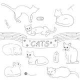 Γάτες περιγράμματος καθορισμένες Διανυσματική απεικόνιση