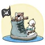 Γάτες που παίζουν τον πειρατή και που πλέουν με τα παπούτσια Στοκ Φωτογραφίες
