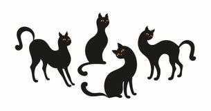 γάτες που τίθενται μαύρε&sigm απεικόνιση αποθεμάτων