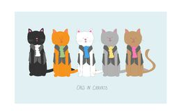 Γάτες στους λαιμοδέτες απεικόνιση αποθεμάτων