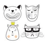 Γάτες, σύνολο χαριτωμένου doodle Στοκ Φωτογραφίες