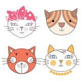 Γάτες, σύνολο χαριτωμένου Στοκ εικόνα με δικαίωμα ελεύθερης χρήσης