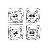 γάτες τέσσερα Περιγραμματικό ύφος Στοκ Εικόνες