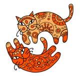 Γάτες τέχνης με τη floral διακόσμηση για το σχέδιό σας Στοκ εικόνα με δικαίωμα ελεύθερης χρήσης