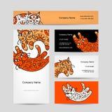Γάτες τέχνης με τη floral διακόσμηση σωματειακό διάνυσμα ύφους λογότυπων απεικόνισης επαγγελματικών καρτών Στοκ Εικόνα