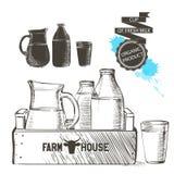 Γάλα βάζων μπουκαλιών Στοκ εικόνα με δικαίωμα ελεύθερης χρήσης
