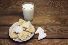 γάλα γυαλιού μπισκότων Στοκ Εικόνα