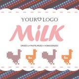 Γάλα ετικετών με την έννοια της διαγώνιος-βελονιάς Στοκ Φωτογραφίες