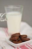 Γάλα και λίγη σοκολάτα donuts Στοκ εικόνα με δικαίωμα ελεύθερης χρήσης