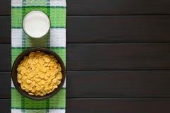 γάλα νιφάδων καλαμποκιού Στοκ φωτογραφία με δικαίωμα ελεύθερης χρήσης