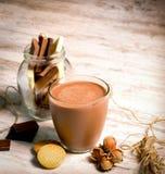 Γάλα σοκολάτας - γάλα και μπισκότα φουντουκιών για το πρόγευμα ή το γεύμα σας Στοκ Φωτογραφία