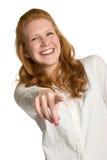 γέλιο δείχνοντας τη γυνα στοκ φωτογραφία