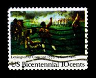 ` Γέννηση της ελευθερίας ` από το Henry Sandham, μάχη Λέξινγκτον-συμφωνίας, 200ο ζήτημα επετείου serie, circa 1975 Στοκ εικόνα με δικαίωμα ελεύθερης χρήσης
