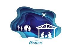 Γέννηση του μωρού Ιησούς Χριστού στη φάτνη Ιερή οικογένεια μάγοι Τρεις σοφοί βασιλιάδες και αστέρι της Βηθλεέμ - ανατολικός κομήτ Στοκ φωτογραφία με δικαίωμα ελεύθερης χρήσης