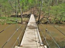 Γέφυρα αναστολής στο κρατικό πάρκο ποταμών Eno στοκ φωτογραφία με δικαίωμα ελεύθερης χρήσης