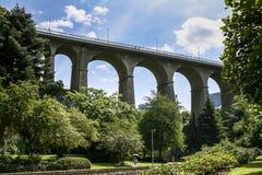 Γέφυρα αναστολής πέρα από την κοιλάδα Petrusse, Λουξεμβούργο Στοκ Εικόνες