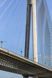 Γέφυρα αναστολής πέρα από τον πυλώνα της Ada - λεπτομέρεια - Βελιγράδι - Δημοκρατία Στοκ φωτογραφία με δικαίωμα ελεύθερης χρήσης