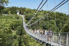 Γέφυρα αναστολής Harz rappodetalsperre Στοκ Εικόνα