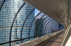 Γέφυρα για πεζούς Bagration στο επιχειρησιακό κέντρο πόλεων της Μόσχας Στοκ εικόνες με δικαίωμα ελεύθερης χρήσης