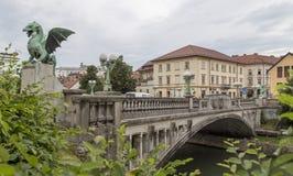 Γέφυρα δράκων στο Λουμπλιάνα, Σλοβενία στοκ εικόνες