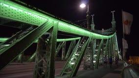 Γέφυρα ελευθερίας που φωτίζεται τη νύχτα στη Βουδαπέστη απόθεμα βίντεο