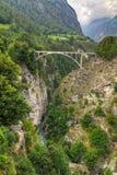 Γέφυρα Ελβετία τραίνων Στοκ Εικόνες