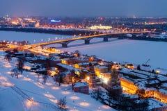 Γέφυρα και ανάχωμα Fedorovsky χειμερινού Kanavinsky σε Nizhny Novgorod Στοκ εικόνες με δικαίωμα ελεύθερης χρήσης