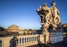 Γέφυρα και Sant ` Angelo Castel, Ρώμη Sant ` Angelo Στοκ Φωτογραφία