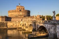 Γέφυρα και Sant ` Angelo Castel, Ρώμη Sant ` Angelo Στοκ Εικόνες