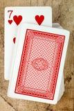 Γέφυρα καρτών με επτά από τις καρδιές Στοκ Εικόνες
