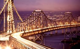 Γέφυρα κόλπων του Σαν Φρανσίσκο Όουκλαντ Στοκ Εικόνες