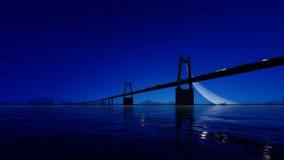 Γέφυρα νύχτας στο σαφή ουρανό τρισδιάστατος δώστε Στοκ Φωτογραφία