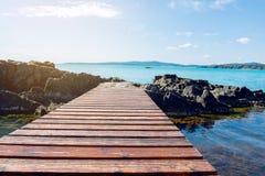 γέφυρα πέρα από τη θάλασσα ξύλινη στοκ φωτογραφία