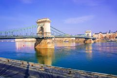 Γέφυρα πέρα από τον ποταμό Δούναβη στην Ουγγαρία Στοκ φωτογραφίες με δικαίωμα ελεύθερης χρήσης