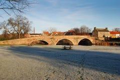 Γέφυρα πέρα από τον ποταμό Τάιν σε Haddington το χειμώνα Στοκ Φωτογραφία