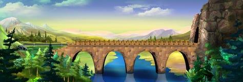 Γέφυρα πέρα από τον ποταμό διανυσματική απεικόνιση